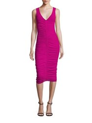 Fuzzi Sleeveless Center Ruched V Neck Dress Begonia