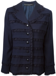 Jean Louis Scherrer Vintage Lace Panel Jacket Blue
