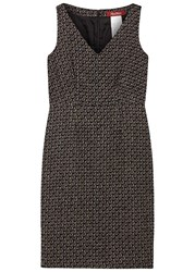 Max Mara Eritea Basket Weave Cotton Blend Dress Brown