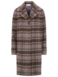 Kaliko Check Wool Blend Coat Multi Pink