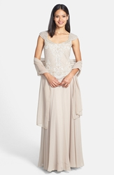 J Kara Embellished Bodice Chiffon Gown With Shawl Regular And Petite Champagne White Silver