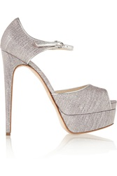 Brian Atwood Lame Covered Leather Peep Toe Platform Pumps Metallic