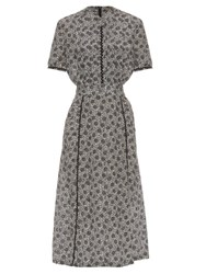 Bottega Veneta Flower Ramage Print Silk Crepe De Chine Midi Dress Black White