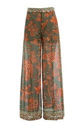 Valentino Printed Cotton Wide Leg Pants Multicolor