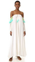 Sundress Venus Maxi Dress White Turquoise