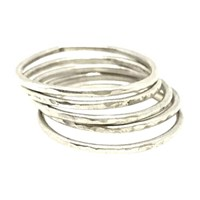 Sweet1985 Hammered Stackable Rings Silver