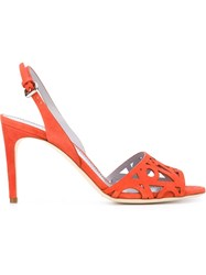 Pollini Laser Cut Sandals Yellow And Orange