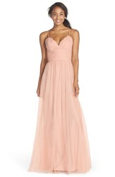 Women's Amsale Lace And Tulle Spaghetti Strap Gown Blush