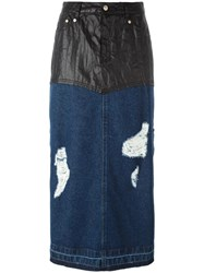 Steve J And Yoni P Leather Effect Panel Long Denim Skirt Blue