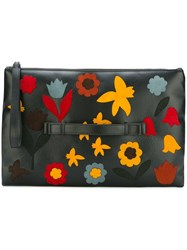 Red Valentino Floral Patched Medium Clutch Black