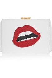 Mark Cross Grace Appliqued Textured Leather Clutch White