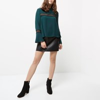 River Island Womens Petite Dark Green Lace Bell Sleeve Top