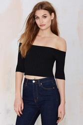 Nasty Gal Off And On Ribbed Crop Top Black