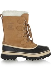 Sorel Caribou Waterproof Suede And Rubber Boots Tan