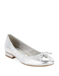 Anne Klein Petrica Leather Bow Tie Flats Silver