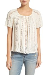Hinge Women's Openwork Lace Top Ivory Antique