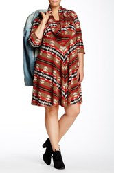 Robbie Bee 3 4 Sleeve Cowl Neck Dress Plus Size Multi