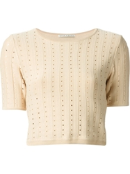 Alice Olivia Cropped Perforated T Shirt Nude And Neutrals