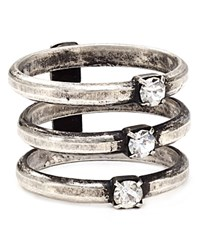 Dannijo Crystal Stacked Ring Silver Crystal