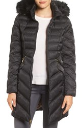 Laundry By Shelli Segal Women's Faux Fur Trim Puffer Coat