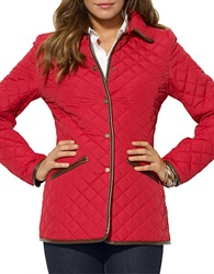 Lauren Ralph Lauren Quilted Faux Leather Trim Blazer Heritage Red