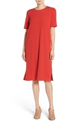 Eileen Fisher Petite Women's Round Neck Shift Dress Poppy