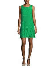 Max Studio Floral Lace Shift Dress Kelly Green