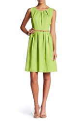 Ellen Tracy Sleeveless Pleated Sundress Petite Green