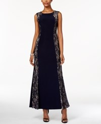 R And M Richards Petite Sequined Lace Panel Gown Navy Taupe
