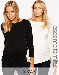 Asos Maternity Crew Neck Top With Long Sleeves 2 Pack Save 11 Blackcream