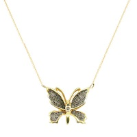 London Road 9Ct Gold Rhodium Black Diamond Butterfly Pendant Necklace Gold