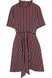 Ganni Striped Silk Crepe De Chine Mini Dress Claret