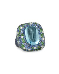 Margot Mckinney Jewelry 18K White Gold Aquamarine Cabochon Ring