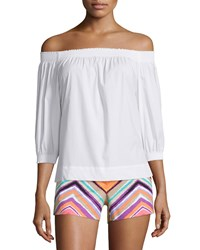 Trina Turk Off The Shoulder Pleated Top White Women's