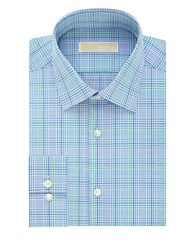Michael Michael Kors Slim Plaid Cotton Shirt Aquamarine