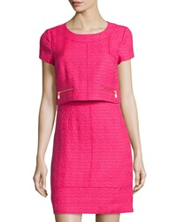 Laundry By Shelli Segal Tweed Short Sleeve Popover Dress Power Pink