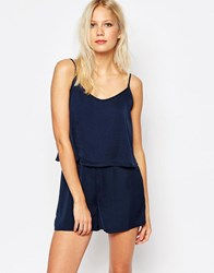 Vila Double Layered Playsuit Total Eclipse
