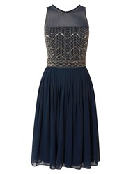 Raishma Chevron Embellished Dress Navy