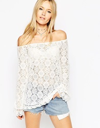 Asos Tunic Top With Off Shoulder In Pretty Lace Cream