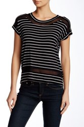 Cable And Gauge Short Sleeve Stripe Mesh Tee Petite White