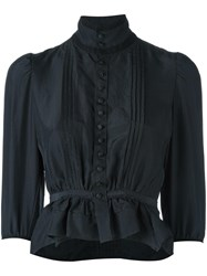 Dsquared2 'Victorian' High Collar Blouse Black