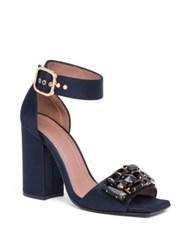 Marni Jeweled Ankle Strap Block Heel Sandals Blue