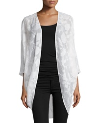Neiman Marcus Floral 3 4 Sleeve Cocoon Cardigan Bleach White