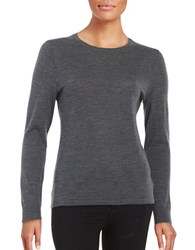 Lord And Taylor Petite Crewneck Merino Wool Sweater Graphite Heather