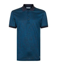 Versace Collection Tonal Print Polo Shirt Male Blue