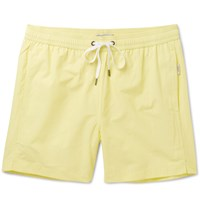 Onia Charles Mid Length Cotton Blend Swim Shorts Yellow