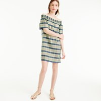 J.Crew Collection Off The Shoulder Dress In Yarn Dyed Silk