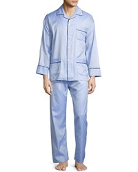 Neiman Marcus Textured Woven Two Piece Pajama Set Light Blue