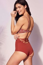Out From Under Strappy Back High Waisted Bikini Bottom Crimson