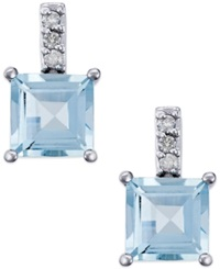 Macy's Aquamarine 2 Ct. T.W. And Diamond Accent Drop Earrings In 14K White Gold